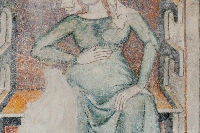Detail of medieval fresco depicting a pregnant woman with one hand on her belly.