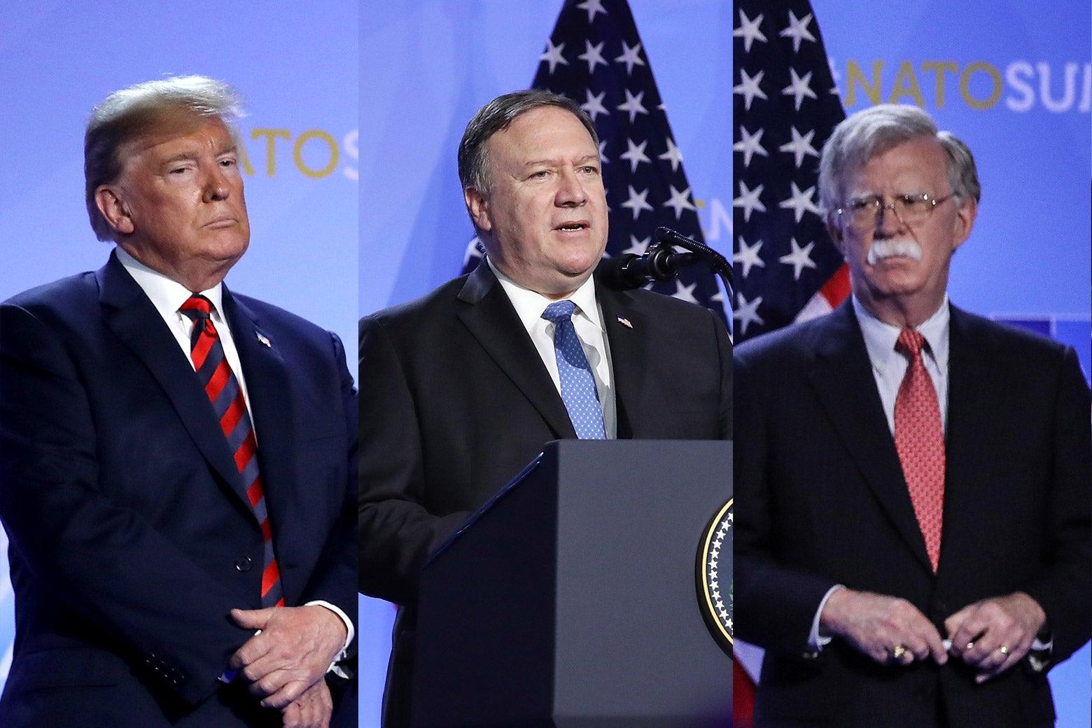 Donald Trump, Mike Pompeo, and John Bolton.