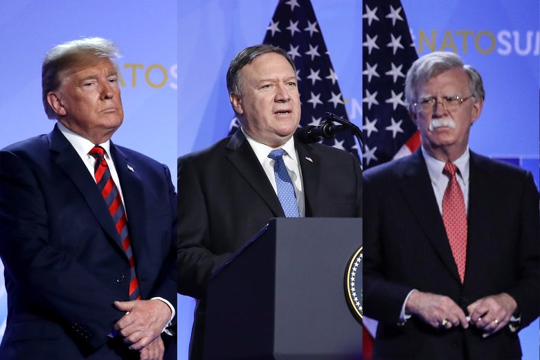 Donald Trump, Mike Pompeo, and John Bolton.