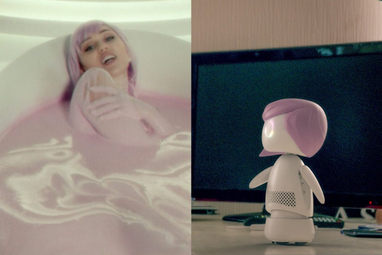 In this side-by-side still from Black Mirror, Miley Cyrus' character bathes in some pink milk bath. In the other image, the Ashley Too doll sits.