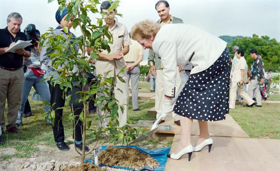 Margaret Thatcher plants a tree