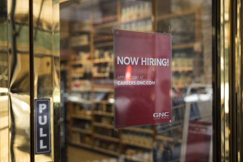 NEW YORK, NY - MAY 4: A 'now hiring' sign hangs on the door of a GNC Nutrition store in Lower Manhattan, May 4, 2018 in New York City. U.S. unemployment fell to a near historic low of 3.9 percent and hiring remained strong in April. The Dow finished up over 300 points at the close on Friday. (Photo by Drew Angerer/Getty Images)