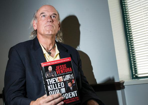 Former pro wrestler Jesse Ventura speaking about his book 'They Killed Our President' October 4, 2013 in Washington, DC.