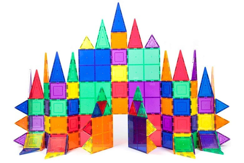 A castle made of colorful tiles.