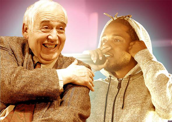 Literary critic and author Harold Bloom, left, and recording artist Kendrick Lamar.