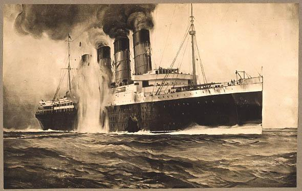 the R.M.S. Lusitania as a second torpedo hits behind a gaping hole in the hull, off Kinsale Head, Ireland.