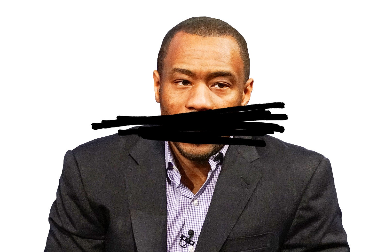 Marc Lamont Hill with a black scribble over his mouth.