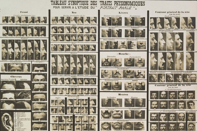 One of Bertillon's tables of physiognomic features for study.