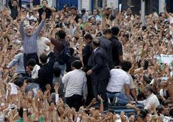 Mir Hossein Mousavi attending opposition rally in Tehran.