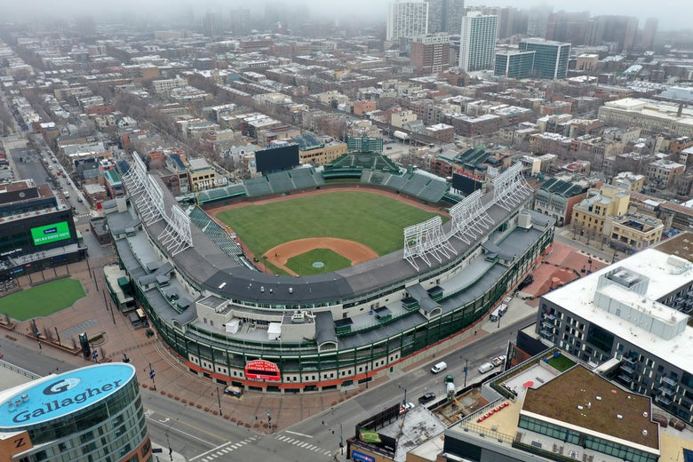 An aerial view of an empty baseball stadium