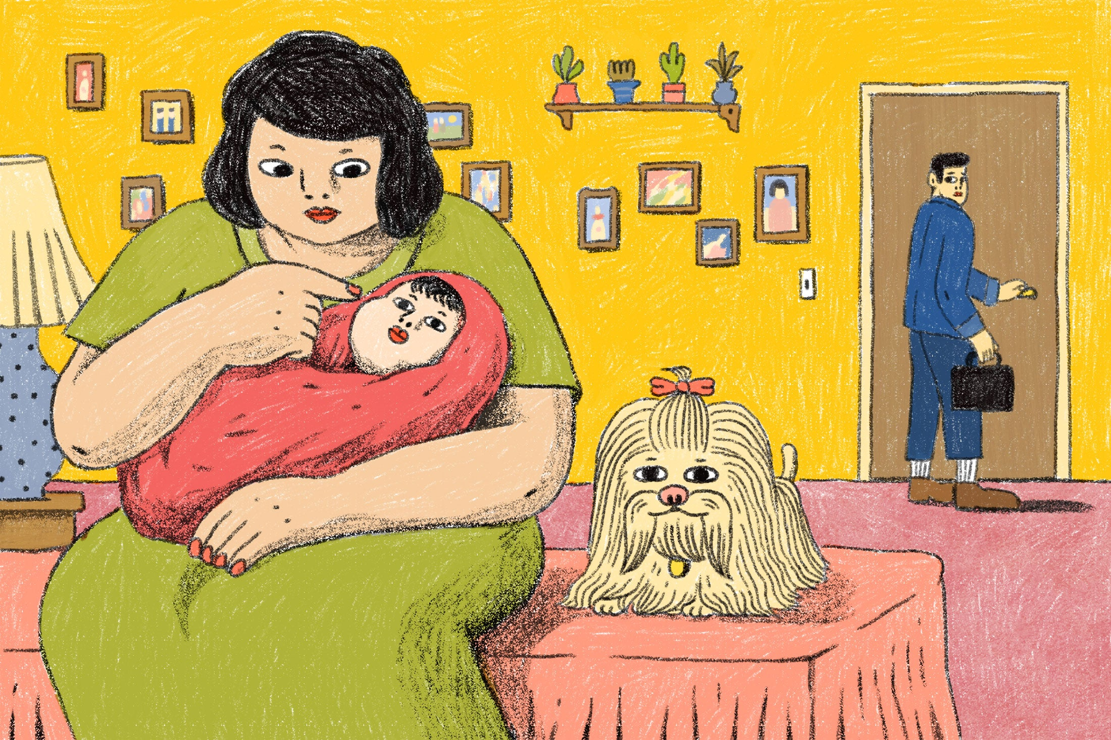 Illustration: a woman cares for a baby while sitting on a bed as a man leaves for work, but looks back at them.