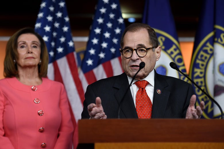 Impeachment Manager Rep. Jerry Nadler(D-NY) speaks as US Speaker of the House Nancy Pelosi (D-CA) looks on at a press conference to annonce the impeachment managers on Capitol Hill January 15, 2020, in Washington, D.C.