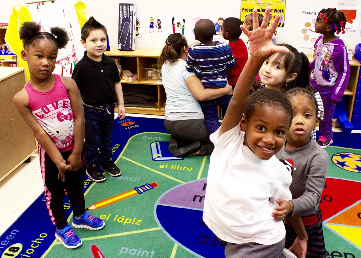 Four-year-old kids playing and learning in a Head Start class at Hernandez Center, Detroit.