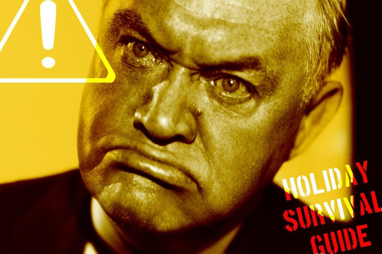 An angry man with the words Holiday Survival Guide on the image.