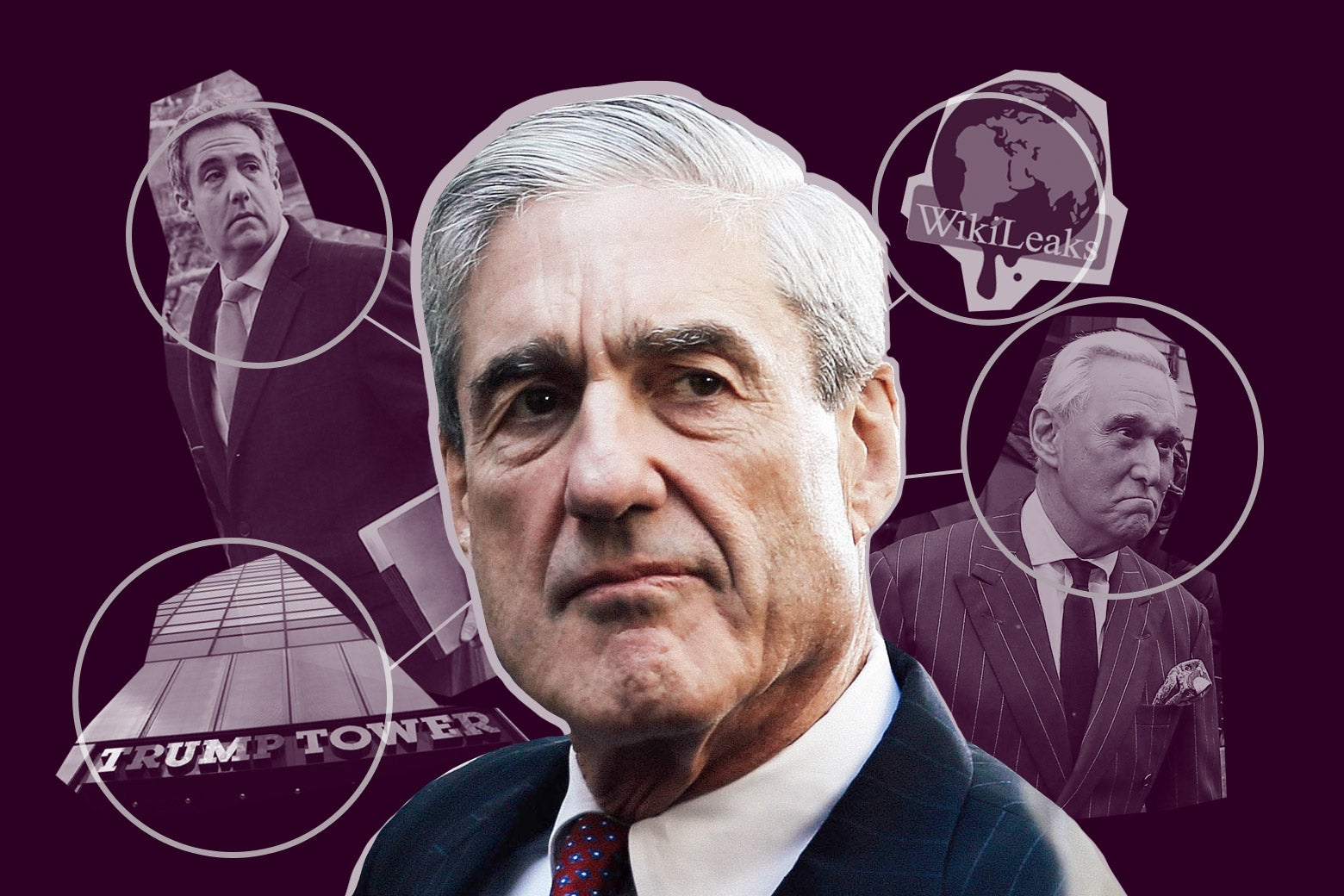 Collage of Robert Mueller surrounded by Trump Tower, Michael Cohen, the WikiLeaks logo, and Roger Stone.