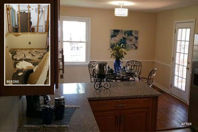 A before-and-after picture of the kitchen in the author's house.