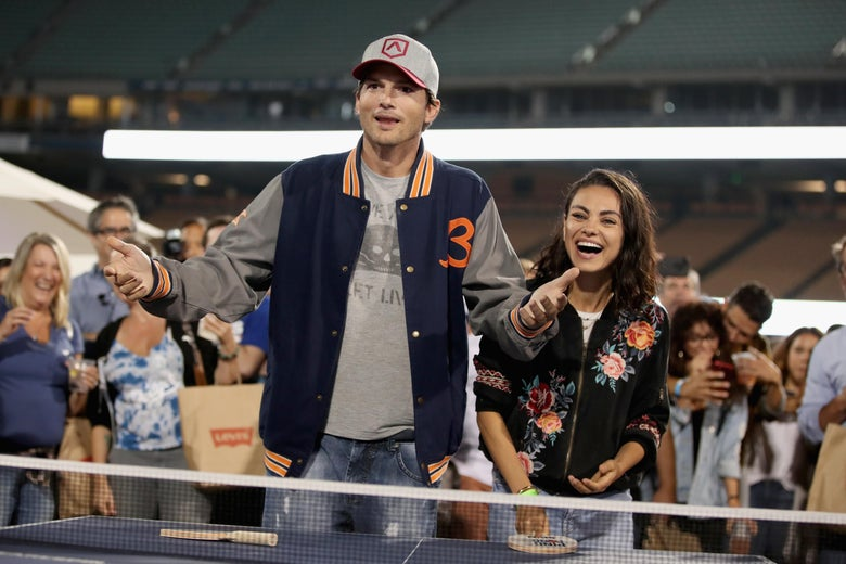 LOS ANGELES, CA - AUGUST 23:  (L-R) Ashton Kutcher and Mila Kunis play ping pong at  Clayton Kershaw's 6th Annual Ping Pong 4 Purpose on August 23, 2018 in Los Angeles, California.  (Photo by Christopher Polk/Getty Images for Kershaw's Challenge  )