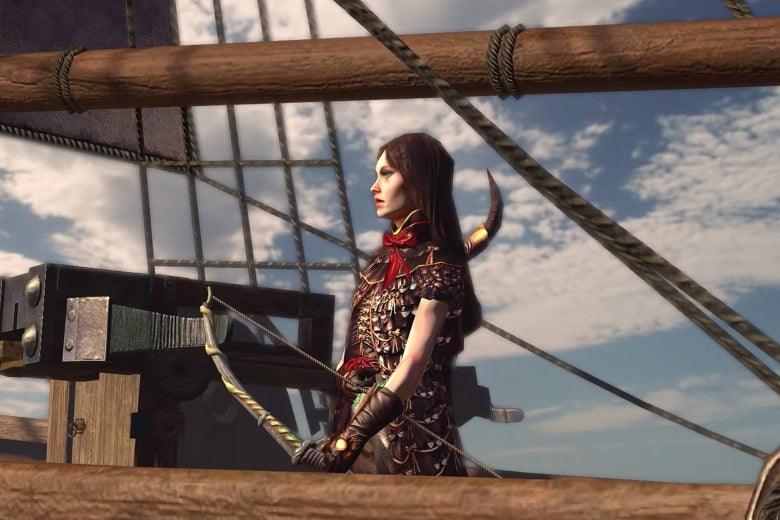 A woman with a bow stands on a ship in a still image from the video game.