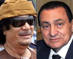 Photos of Muammar Gaddafi, Hosni Mubarak