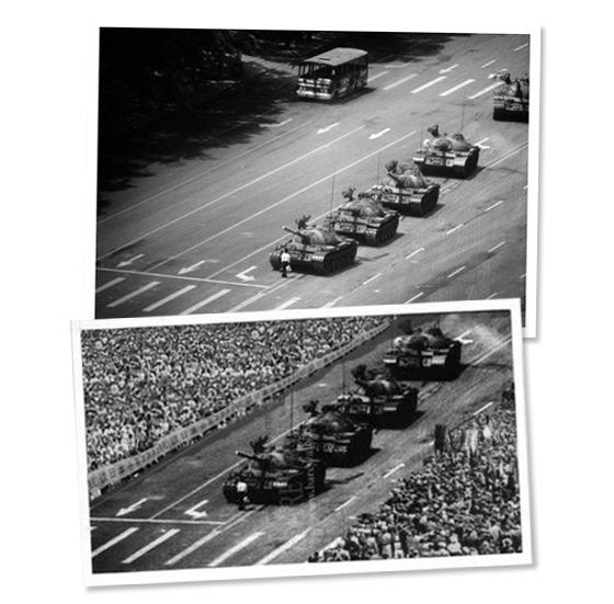 An original photo of Tiananmen Square (top) and a doctored photo of the same scene (bottom)