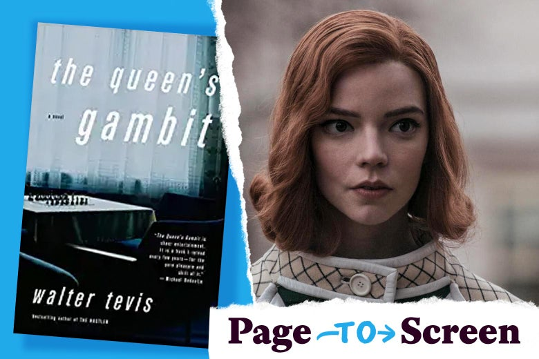 "Left, the cover of The Queen's Gambit by Walter Tevis. Right, Anya Taylor-Joy as Beth Harmon. In the corner, a tearaway logo reads ""Page to Screen."""