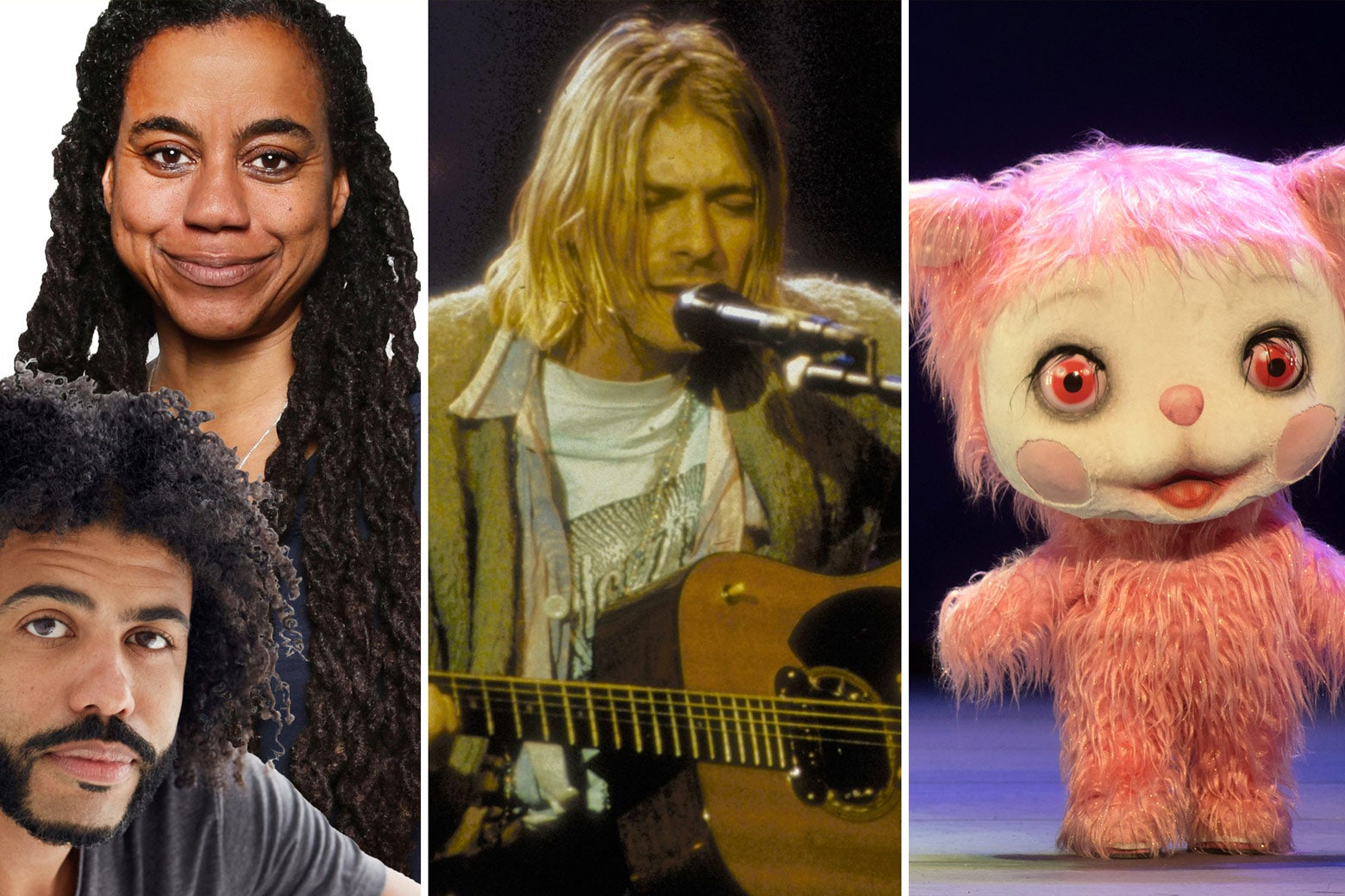 Daveed Diggs with Suzan-Lori Parks; Kurt Cobain performing on MTV Unplugged; and the supernumerary Iggy Berlin in a giant pink Yak costume.