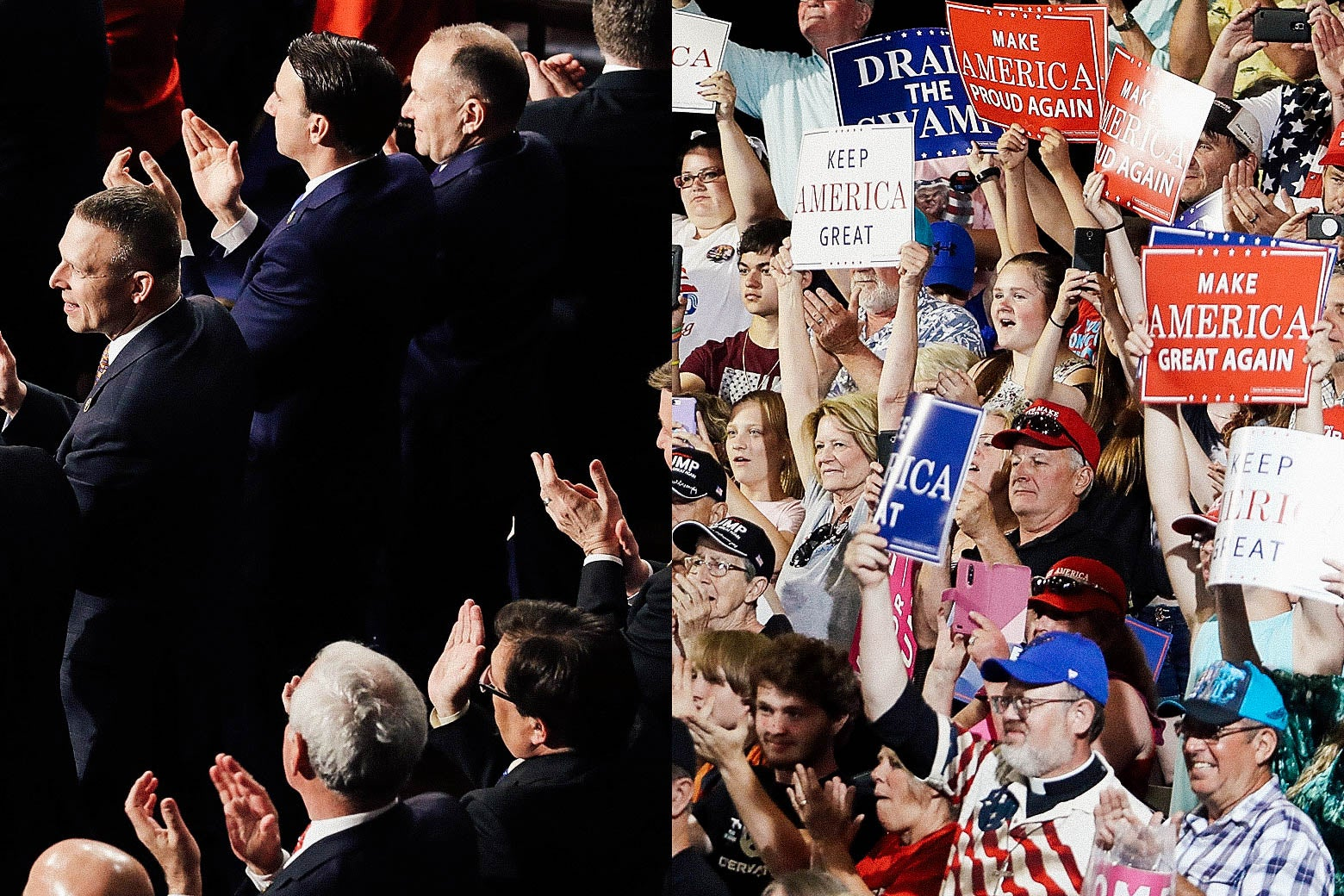 "Side-by-side photo illustration: On the left, GOP congressional members clap. On the right, Donald Trump fans hold up election slogan signs that say ""Make America Great Again"" and ""Drain the Swamp,"" among others."