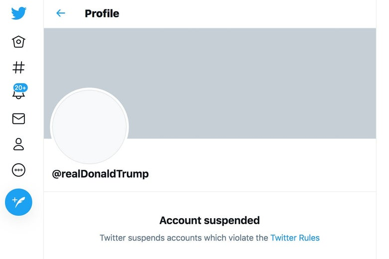 A screenshot of Trump's banned account.