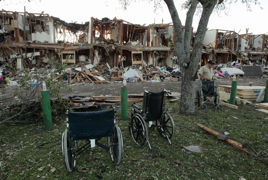 The remains of an apartment complex next to the fertilizer plant that exploded yesterday afternoon on April 18, 2013 in West, Texas.