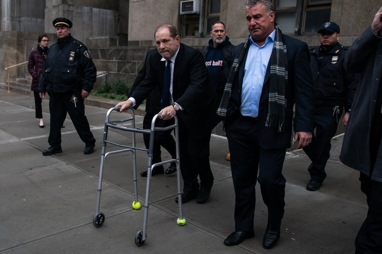 Movie producer Harvey Weinstein departs from criminal court after a bail hearing on December 11, 2019 in New York City.