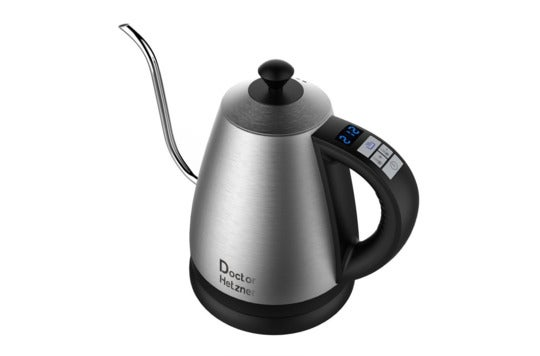 Gooseneck stainless steel electric kettle.