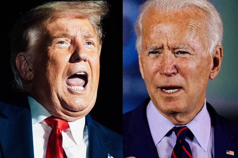Trump left and Biden right