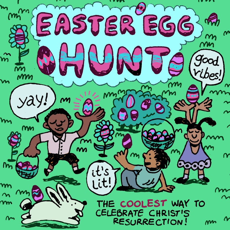 Fake ad for an Easter egg hunt.