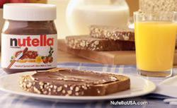 Nutella advertisement as part of a healthy breakfast.