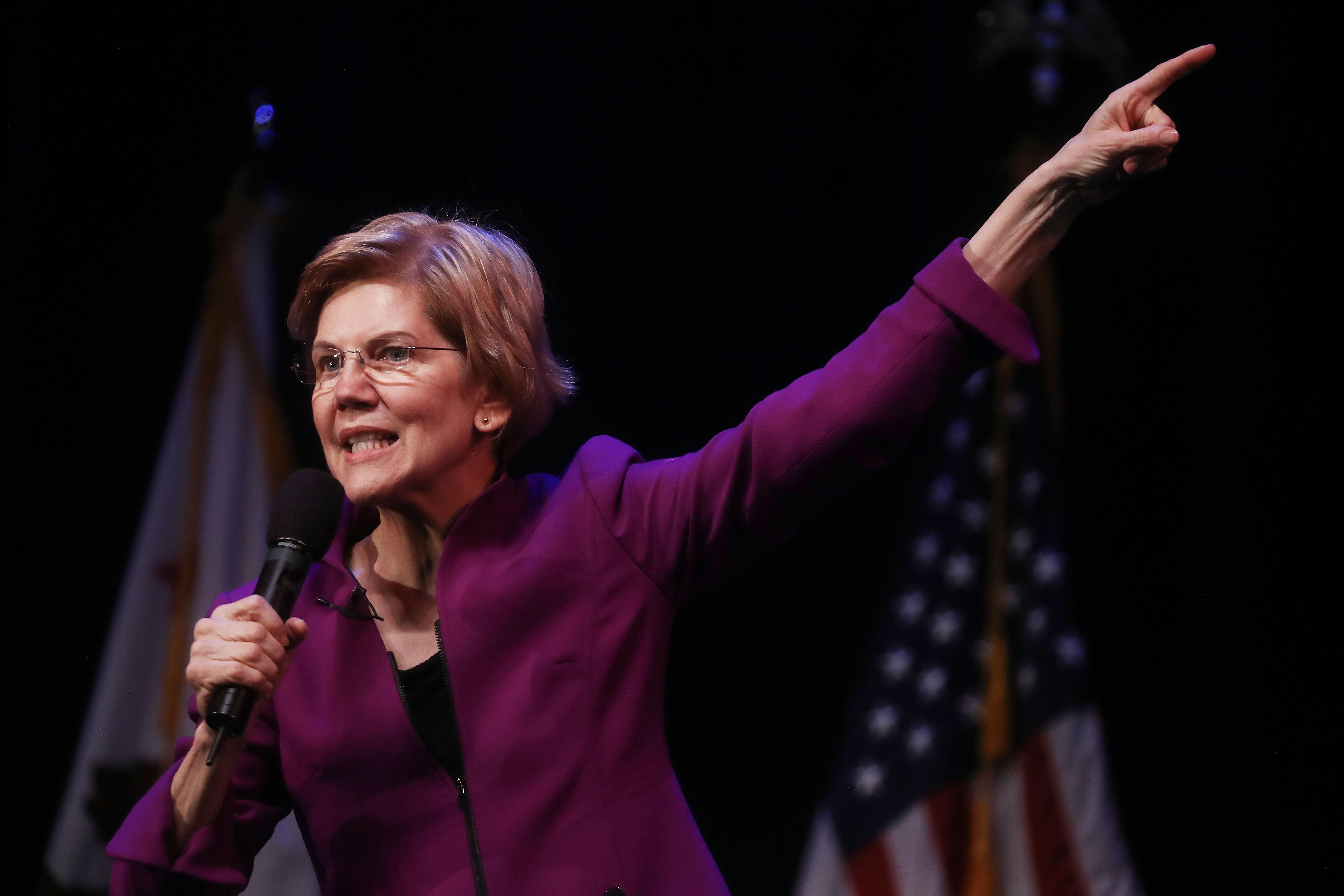 GLENDALE, CA - FEBRUARY 18:  U.S. Senator and Democratic presidential candidate Elizabeth Warren (D-MA) speaks at an organizing event on February 18, 2019 in Glendale, California. Warren is attempting to become the Democratic nominee in a crowded 2020 presidential field and is the first candidate to have a public campaign event in the metropolitan area of Los Angeles.  (Photo by Mario Tama/Getty Images)
