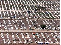 Tent city in Turkey after the 1999 earthquakes.         Click image to expand.