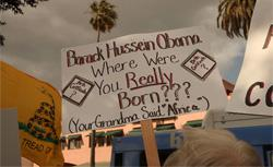 A demonstrator questions the citizenship of President Obama. Click image to expand.