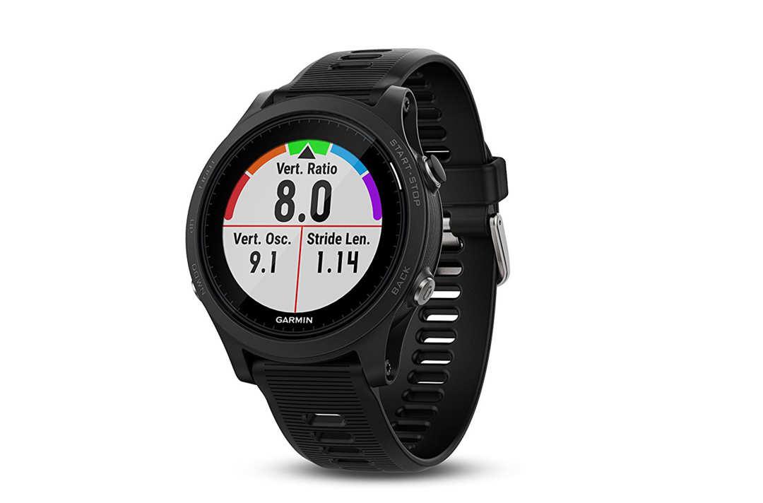 Black Garmin Forerunner fitness watch.