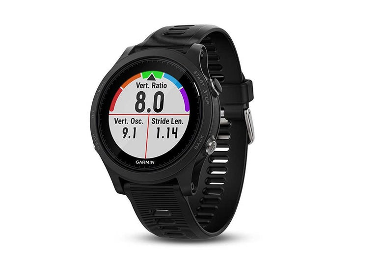 Black Garmin Forerunner fitness watch.
