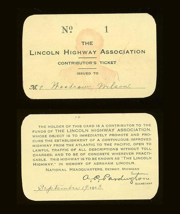 Woodrow Wilson's Lincoln Highway Association membership card, 1913