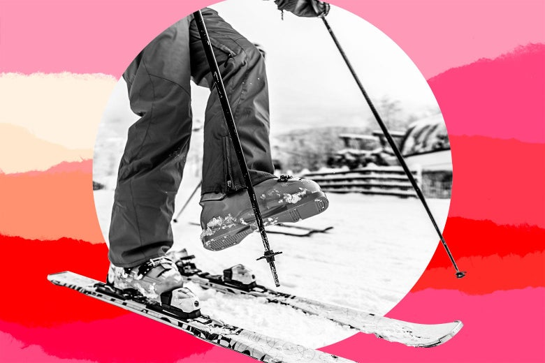 Close up of a teen skier snapping out of her skis.