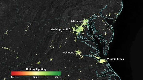 City lights shine brighter during the holidays in the United States