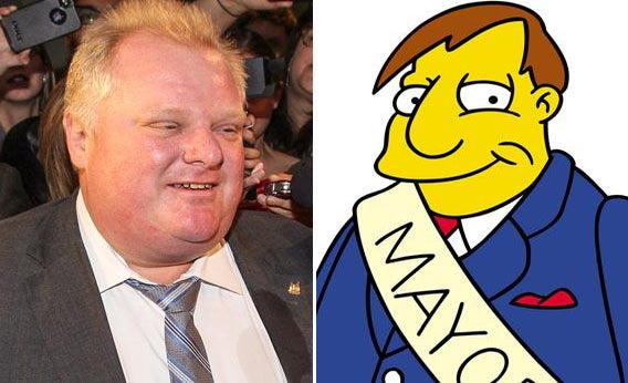 Toronto Mayor Rob Ford and Springfield Mayor Joe Quimby