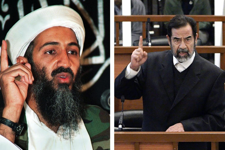 L: Osama bin Laden speaks with his right pointer in the air nest to him. R: Saddam Hussein speaks in court with his right pointer in the air in the same manner.