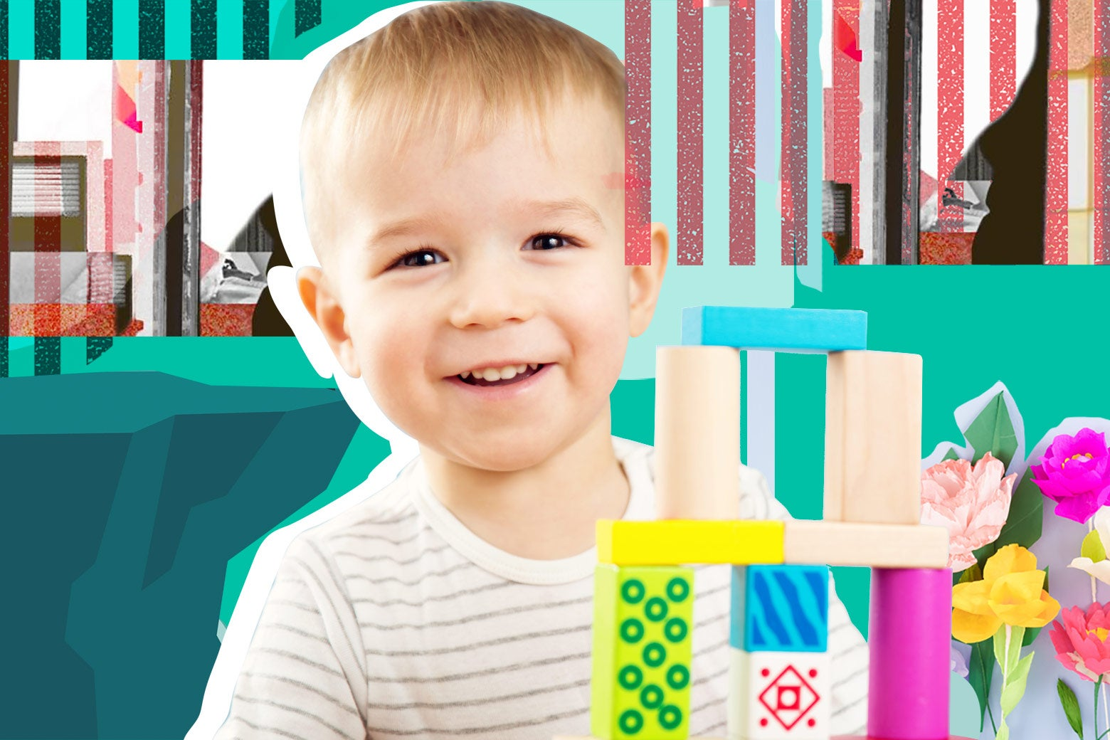 A small boy playing with blocks in front of a collage of stripes, flowers, and a cliff.