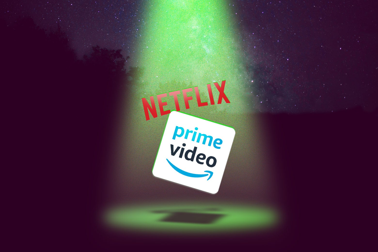 Photo illustration: the Netflix and Amazon Prime Video logos being abducted, probably.