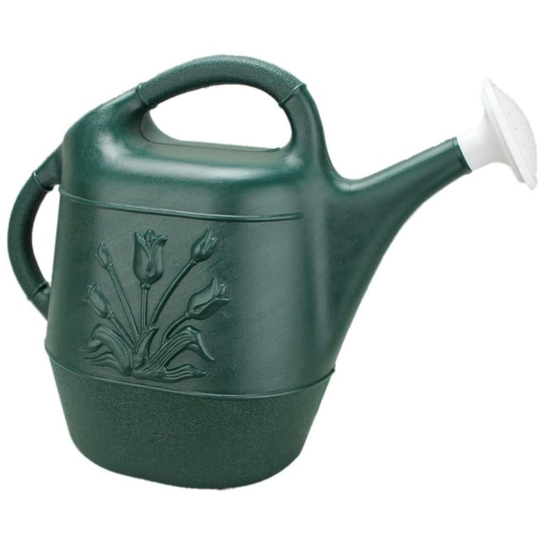 A green watering can.