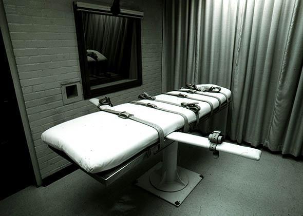 An execution bed at Texas Death Row in Huntsville, Texas.