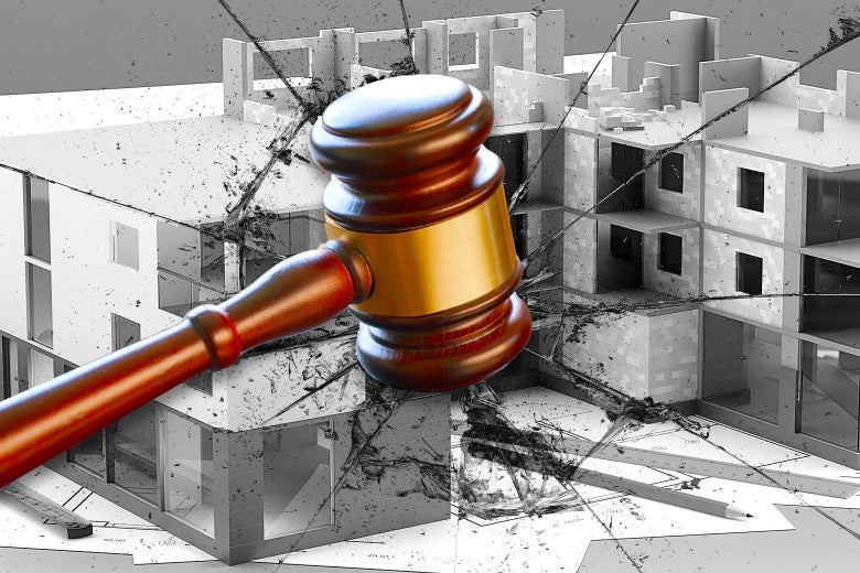 An illustration of a gavel smashing an image of a building under construction.