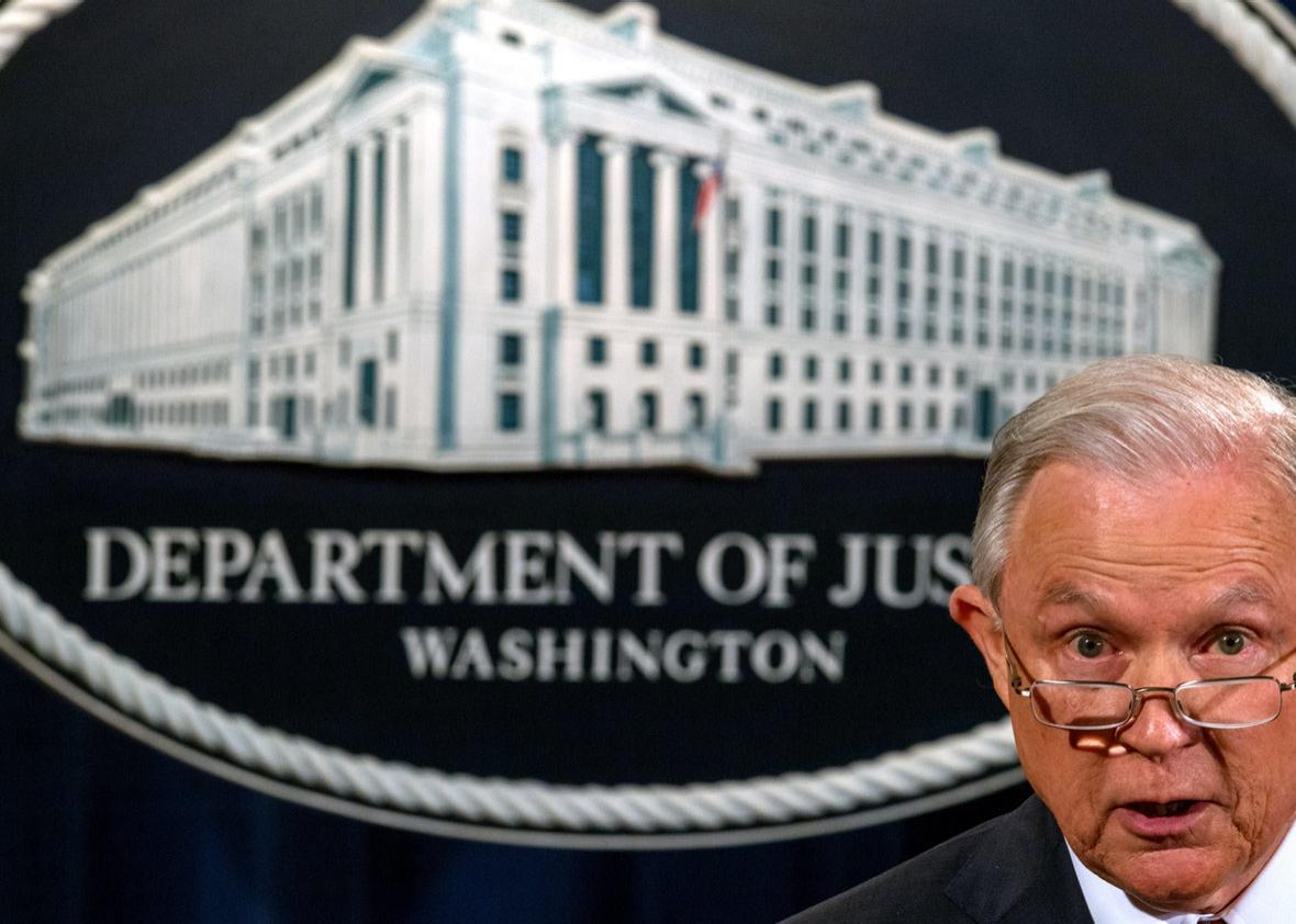 US Attorney General Jeff Sessions speaks regarding the Deferred Action for Childhood Arrivals (DACA) program on September 5, 2017, at the Justice Department in Washington, DC.